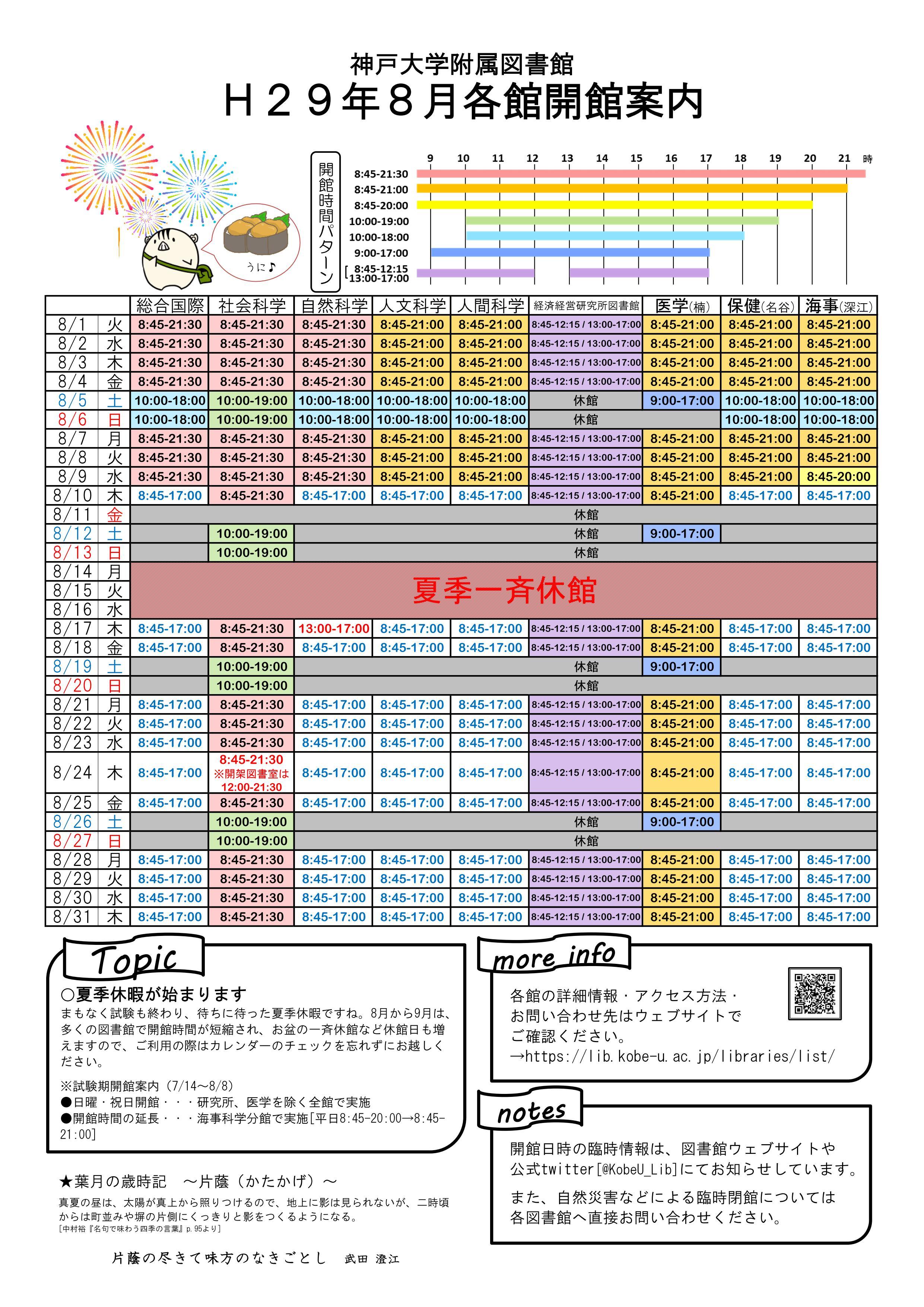 平成29年8月図書館各館開館案内カレンダー