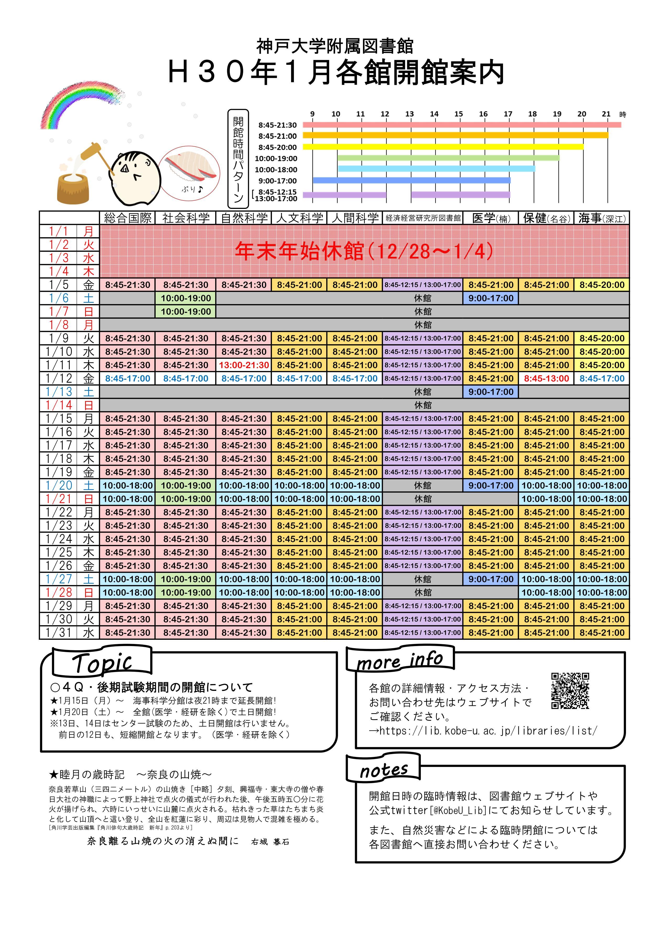 平成30年1月図書館各館開館案内カレンダー