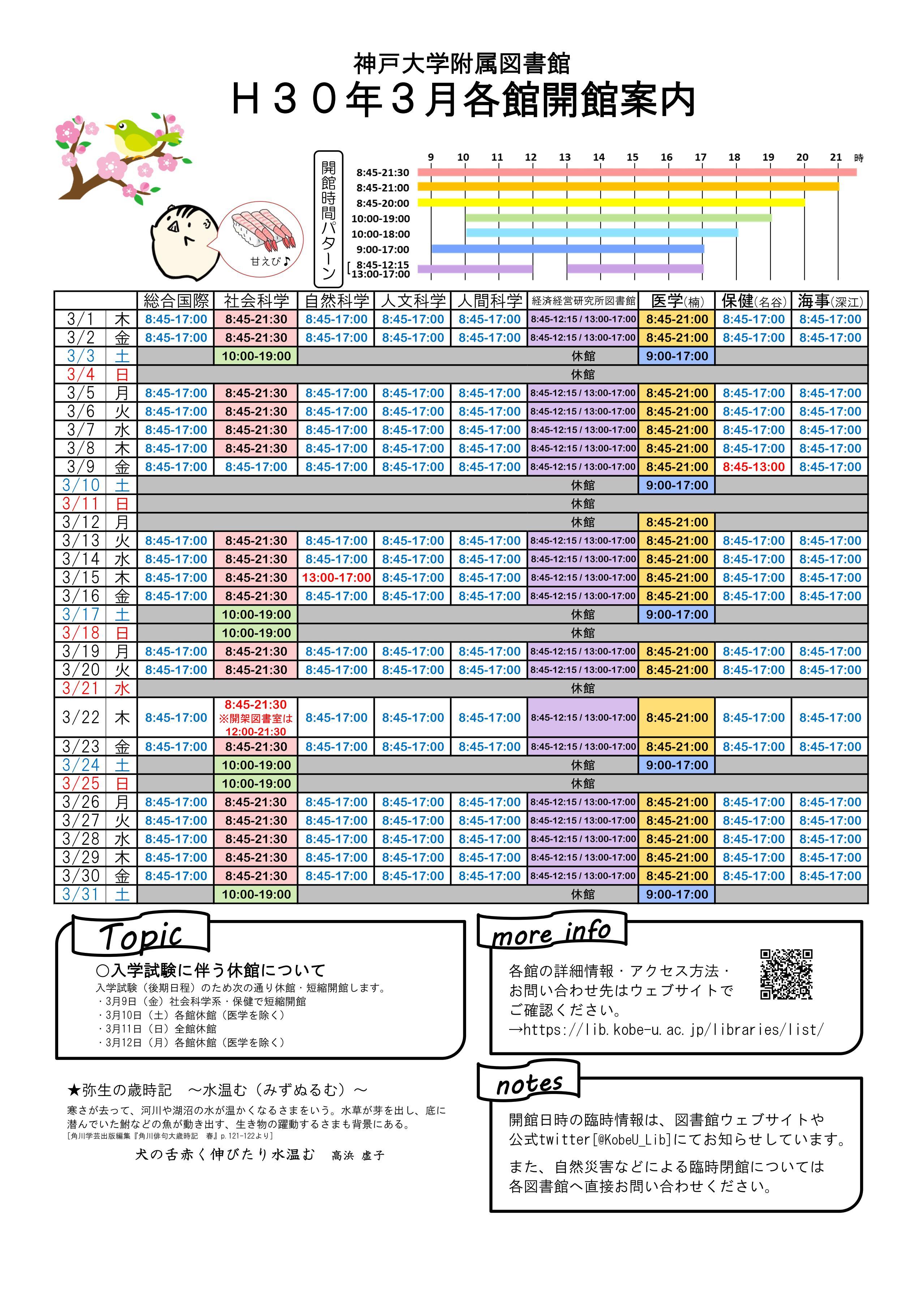 平成30年3月図書館各館開館案内カレンダー