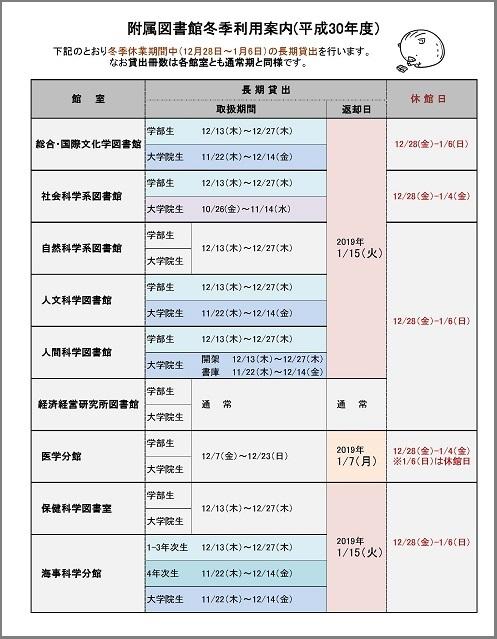 平成30(2018)年度 冬季利用案内