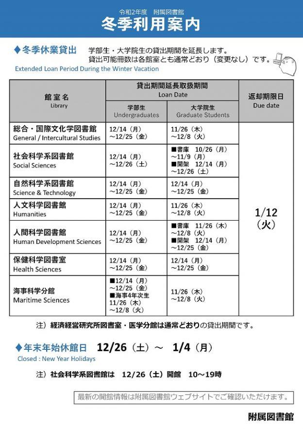 2020年度_附属図書館_冬季利用案内