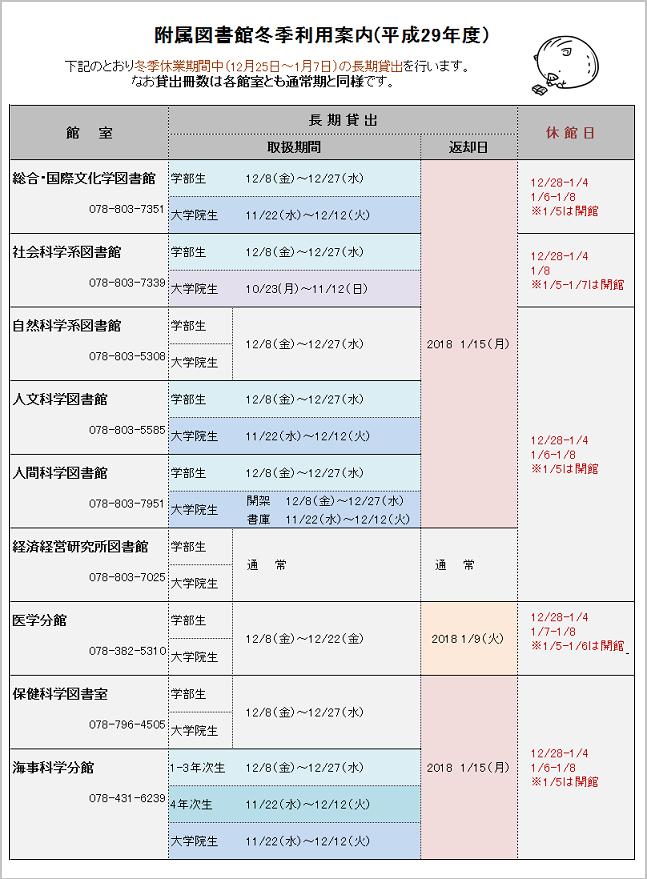 冬季図書館利用案内(2017)